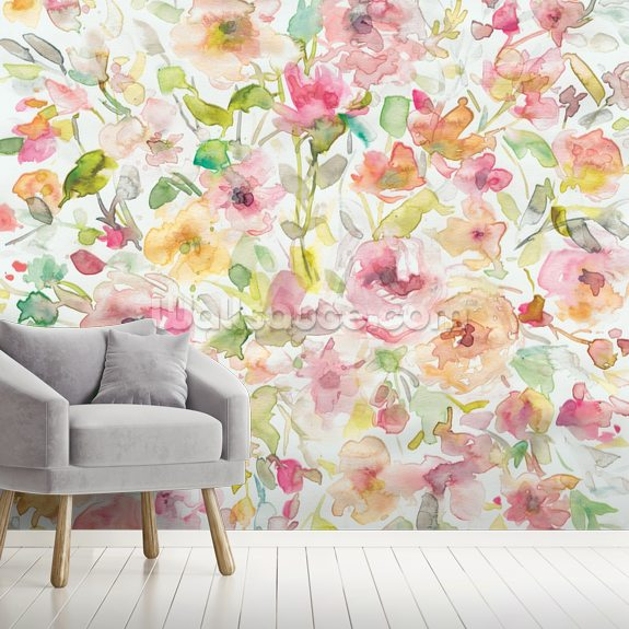 Garden Whispers mural wallpaper room setting