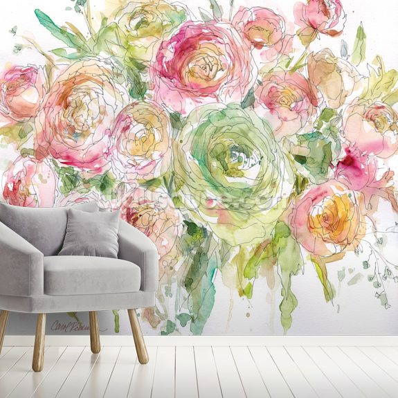 Graceful Bouquet wall mural room setting