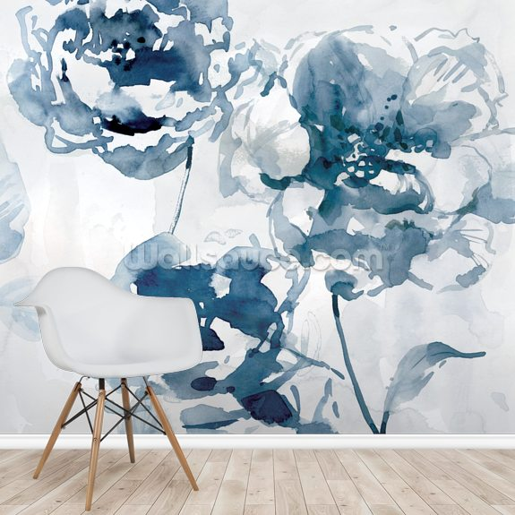 Indigo Garden 1 wallpaper mural room setting