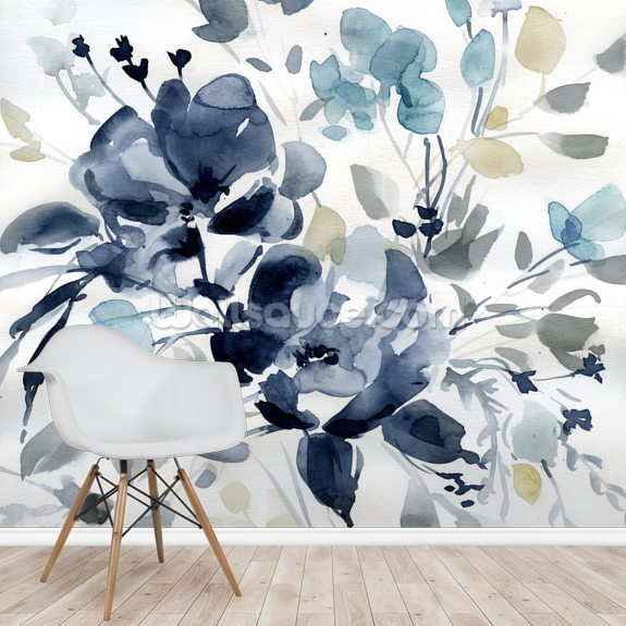 Indigo Garden 2 mural wallpaper room setting