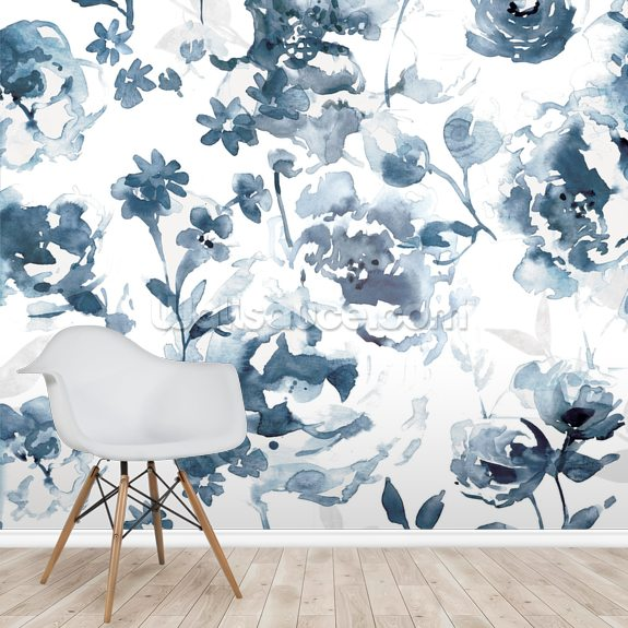 Indigo Garden wall mural room setting