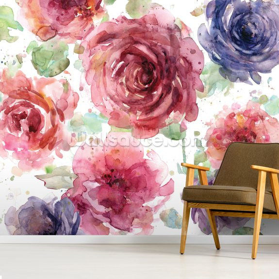 Macro Flowers wallpaper mural room setting