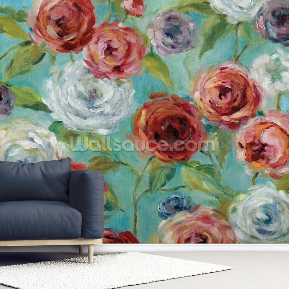 Roses Are Red wallpaper mural room setting