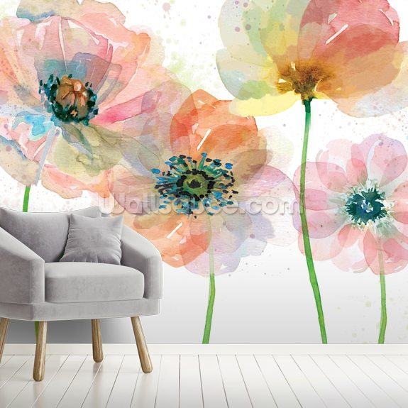 Summer Fields mural wallpaper room setting