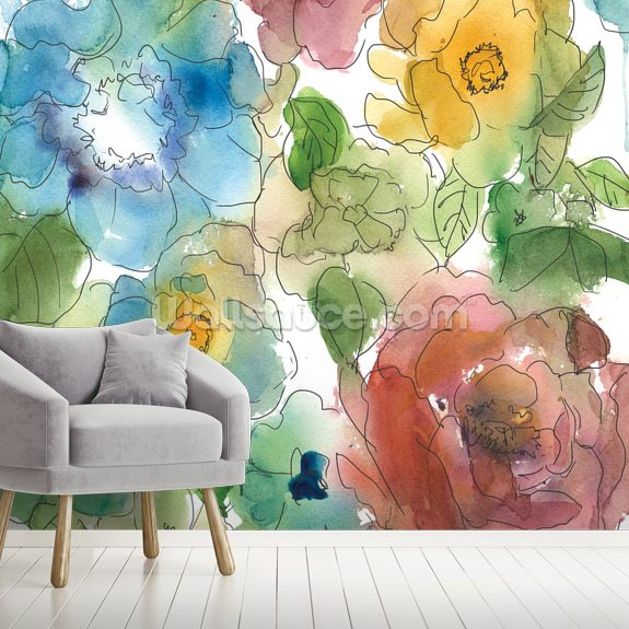 Washes and Sketches wall mural room setting