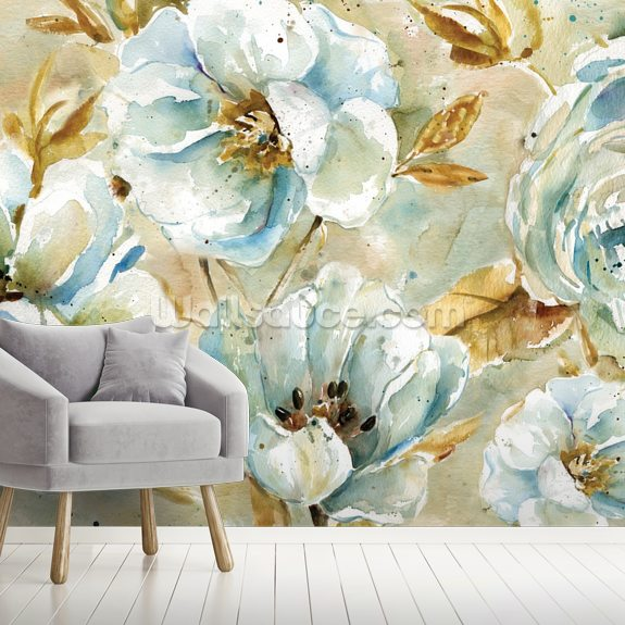 Watercolor Floral Rug wallpaper mural room setting