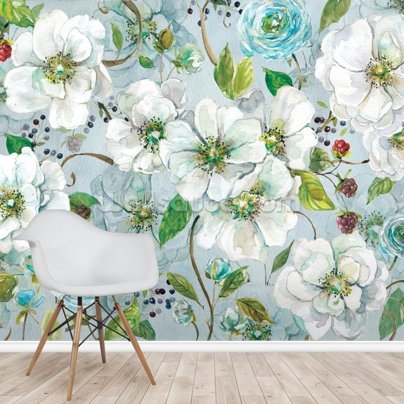White Rose and Ranunculus mural wallpaper room setting