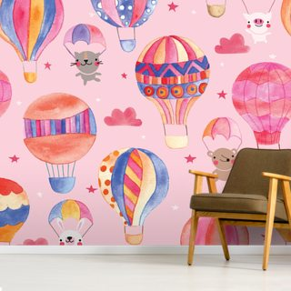 Animals In Hot Air Balloons Pattern Wallpaper Wall Murals