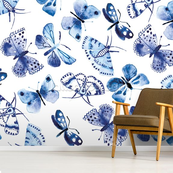 Blue Butterflies wallpaper mural room setting
