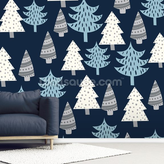 Contemporary Chrismas trees mural wallpaper room setting