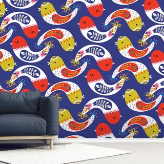 Contemporary Curved Birds Wallpaper Wall Murals
