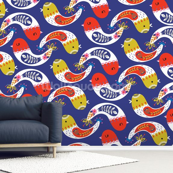 Contemporary Curved Birds wall mural room setting
