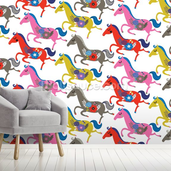 Contemporary Horses wallpaper mural room setting