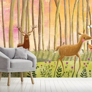 Deer in Forest Wallpaper Wall Murals