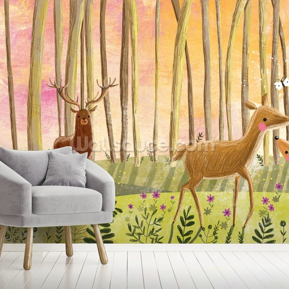 Deer in Forest mural wallpaper room setting