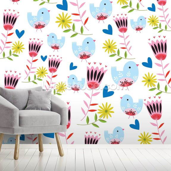 Folk Birds and Flowers wall mural room setting