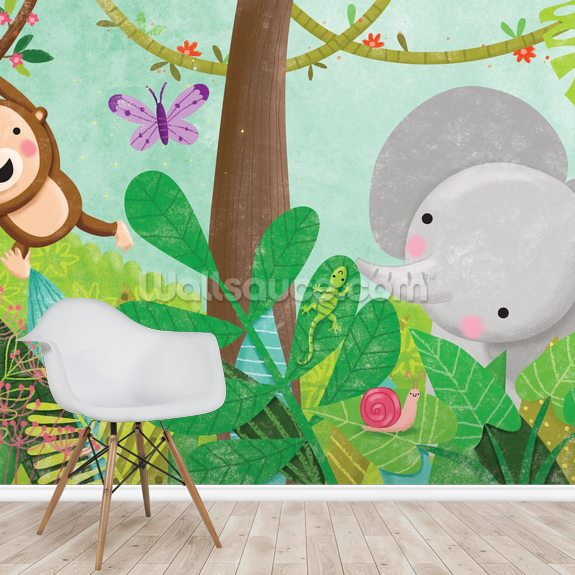 Jungle wallpaper mural room setting