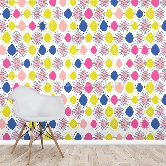 Owls and Flowers Geometric mural wallpaper room setting