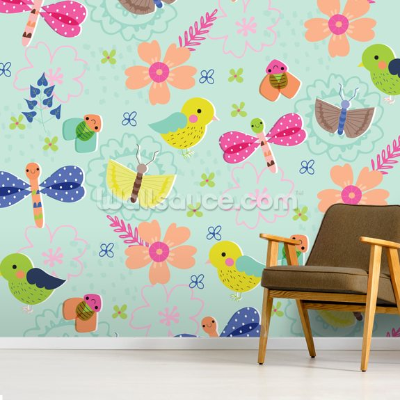 Owls, Insects and Flowers wallpaper mural room setting