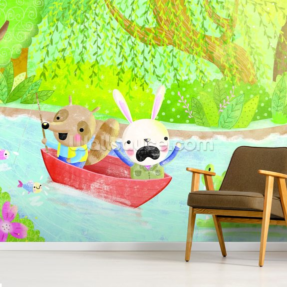 River Trip mural wallpaper room setting