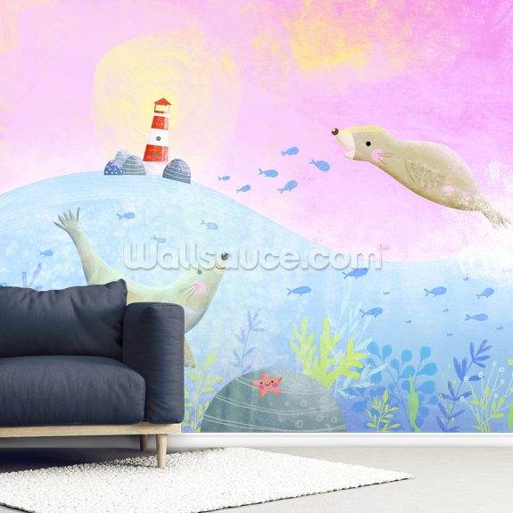 Sea Lions wall mural room setting
