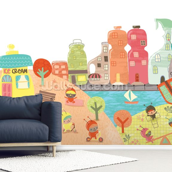 Sebastian's Sink City wallpaper mural room setting