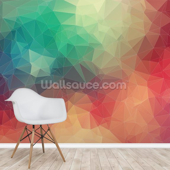 Abstract 2D Geometric wall mural room setting