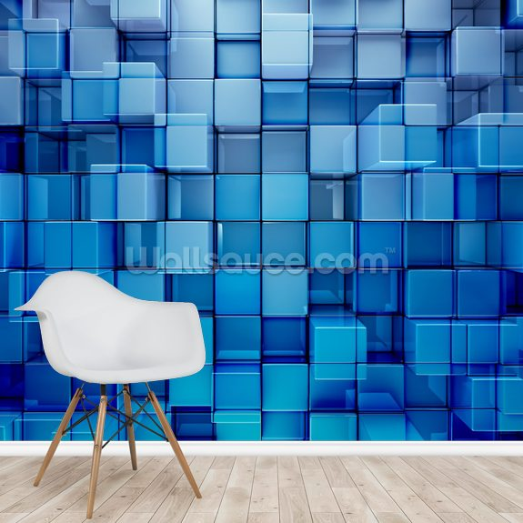Blue Blocks Abstract Background mural wallpaper room setting