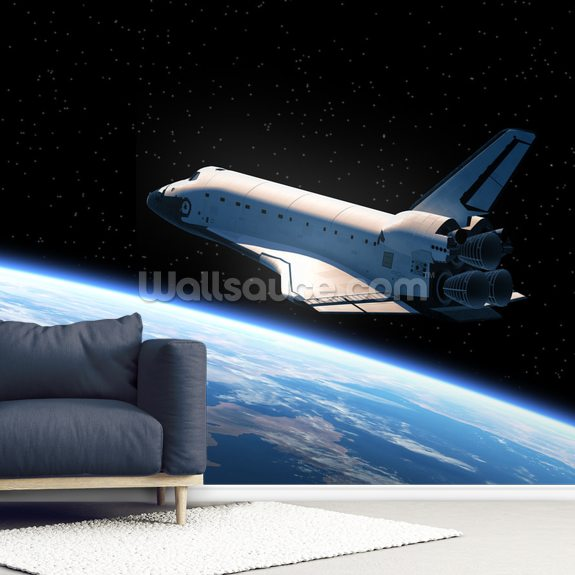 Space Shuttle Orbiting Earth wallpaper mural room setting