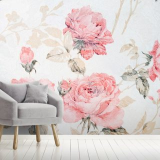 Pink Vintage Flowers Wallpaper Wall Murals