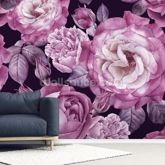 Ultra Violet Roses Dark Floral Wallpaper Wallsauce Us