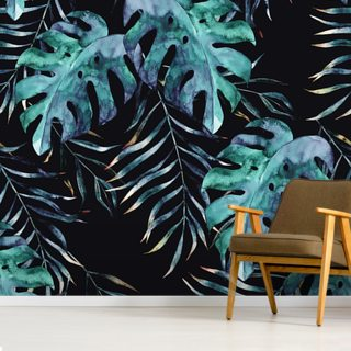 Black with Tropical Leaves Palm Wallpaper