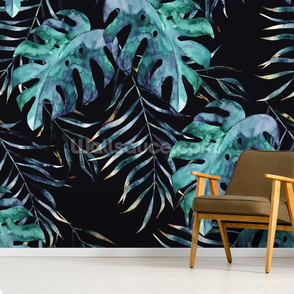 Black with Tropical Leaves Palm Wallpaper mural wallpaper room setting