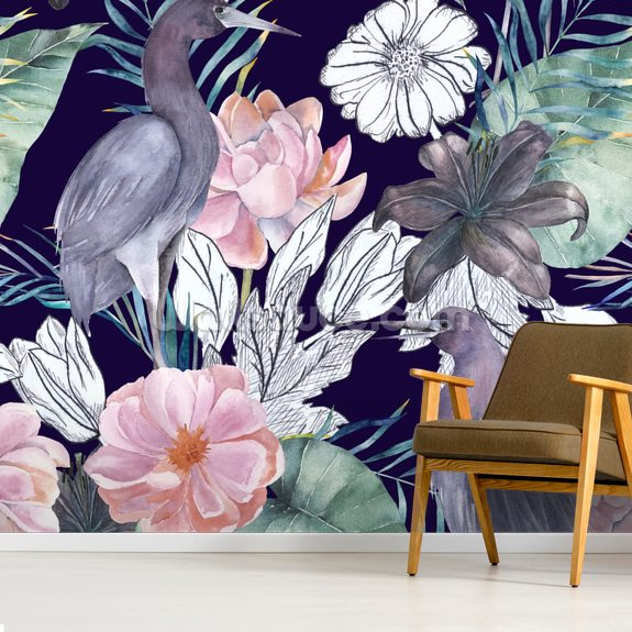 Birds and Dark Floral wall mural room setting