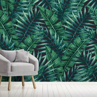 Dark Tropical Leaves Jungle Wallpaper