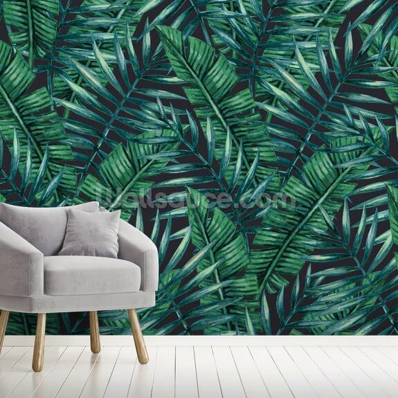 Dark Tropical Leaves Jungle Wallpaper mural wallpaper room setting