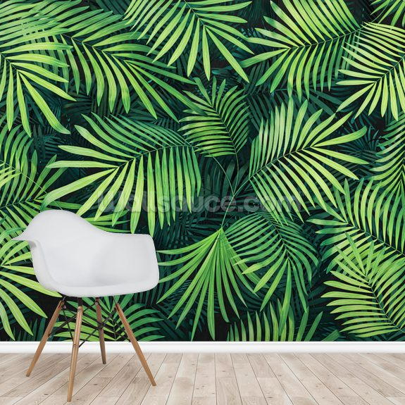 Leaves Of Palm Tree Wallpaper Mural Room Setting