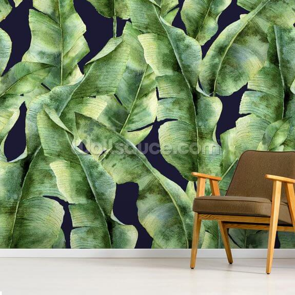 Tropical Banana Leaf Palm Tree wallpaper mural room setting