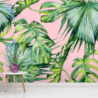 Pink Jungle Wallpaper Wall Murals