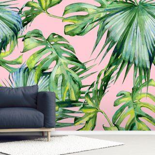 pink jungle wallpaper wall mural wallsauce eu