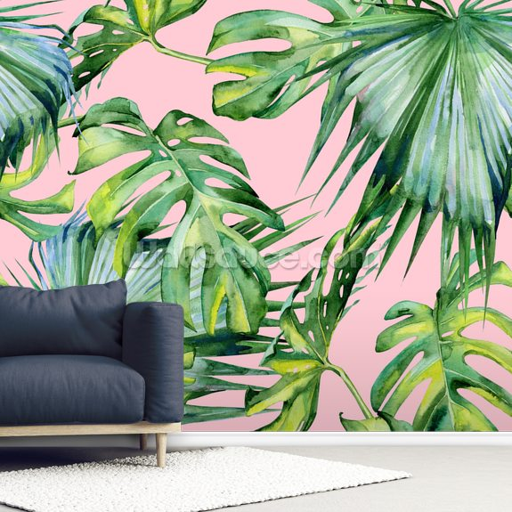 Pink Jungle mural wallpaper room setting