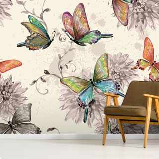 Vintage seamless texture with of flying butterflies. watercolor