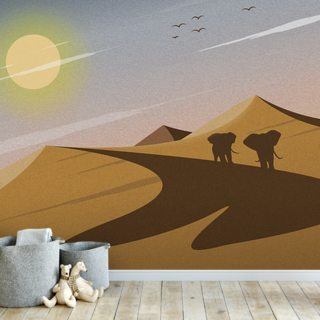 Migrating Elephants Wallpaper Wall Murals