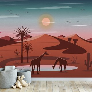 Oasis Colourful Dusk Wallpaper Wall Murals