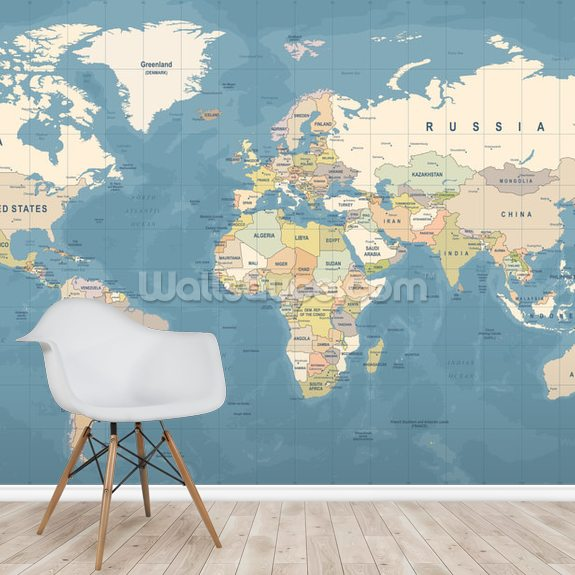 Map of the World Mural wallpaper mural room setting