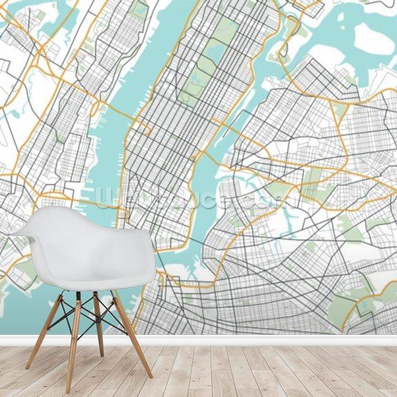 new york city map wallpaper mural wallsauce usa