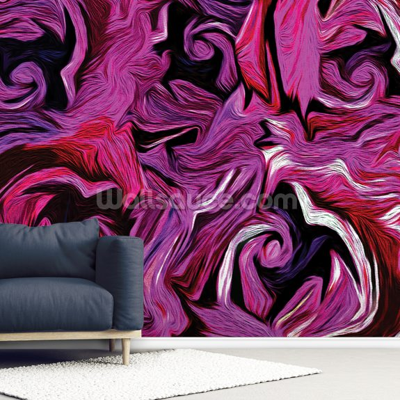Abstract Roses wallpaper mural room setting