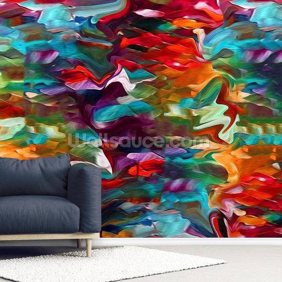 Autumn mural wallpaper room setting