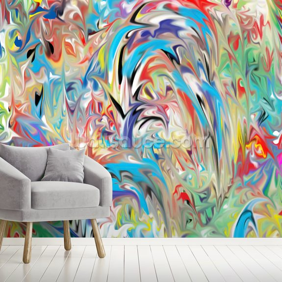Color Fountain wall mural room setting