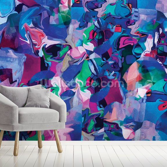 Confetti wallpaper mural room setting